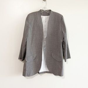 Vintage Christian Dior Black White Plaid Blazer